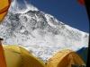 widok na Mount Everest z perspektywy wnętrza mojego namiotu