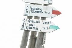 polska tablica informuje o wysokości Babiej Góry 1.725m npm