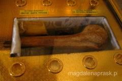 relikwia w cerkwii św. Jerzego - kość serbskiego cara Urosa