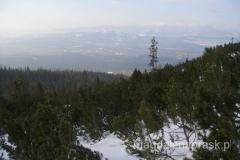 wychodzimy ponad granicę lasu i otwierają się widoki na m.in. Poprad i Niżne Tatry