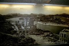 zdjęcie z Muzeum przedstawiające obraz Hiroszimy po wybuchu bomby atomowej