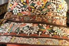 kapelusze haftowane, z wielobarwnego materiału