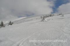 Karkonosze przysypane śniegiem - widok w kierunku Łabskiego Szczytu