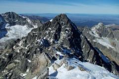 na szczycie Łomnicy (2.634m npm) - widok na Durnego