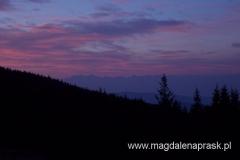 wschód słońca - widok z Hali Krupowej na Tatry