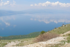widok na Jezioro Ochrydzkie z Przełęczy Livada