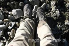 tym razem przechodząc przez lodowiec wpadłam w lodowcowe bagienko do kostki (jedną nogą)