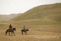 dzieci - starszy chłopiec galopuje na koniu, młodszy na osiołku