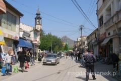 centrum Prilepu - w tle po lewej wieża zegarowa z 1858r. - symbol miasta