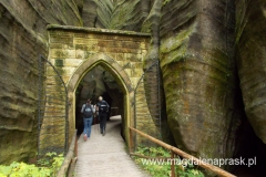 Brama Gotycka- polecił ją wybudować- wraz z całą siecią chodników turystycznych, mostów, kładek i schodów- Ludvik Karel Nadherny w 1839r. Tutaj znajowało się pierwsze wejście w skały: dlatego część trasy do Bramy Gotyckiej jest nazywana Skalnym Przedmieściem. Okolice Bramy Gotyckiej są pięknym przykładem środowiska, w którym występują mchy i paprocie.