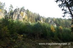 Skały Teplickie ukryte są w lesie - ale są na tyle wysokie, że często wznoszą się ponad las