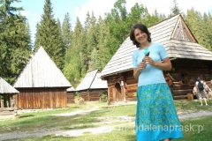 drewniane chałupki pięknie prezentują się z górami w tle