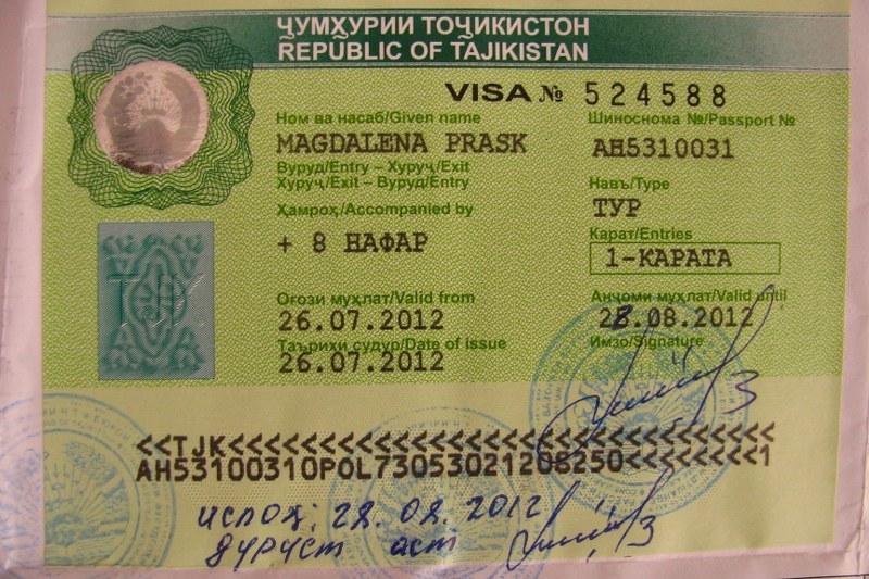 wiza do Tadżykistanu dla całej grupy