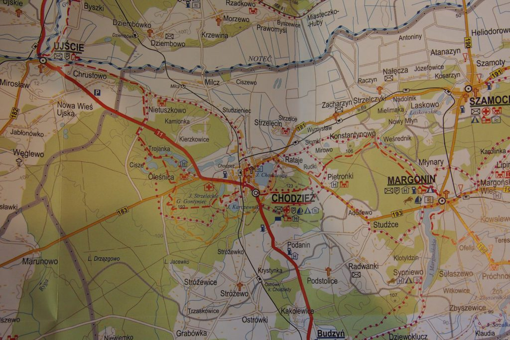 mapka regionu - szlaki poprowadzone w okolicy Chodzieży